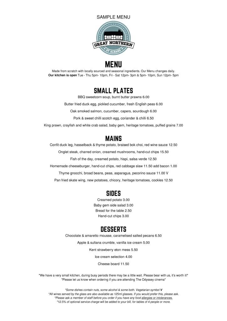 Sample menu Harry July-1